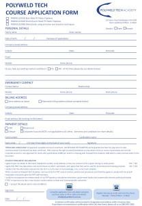 PWT Enrolment form